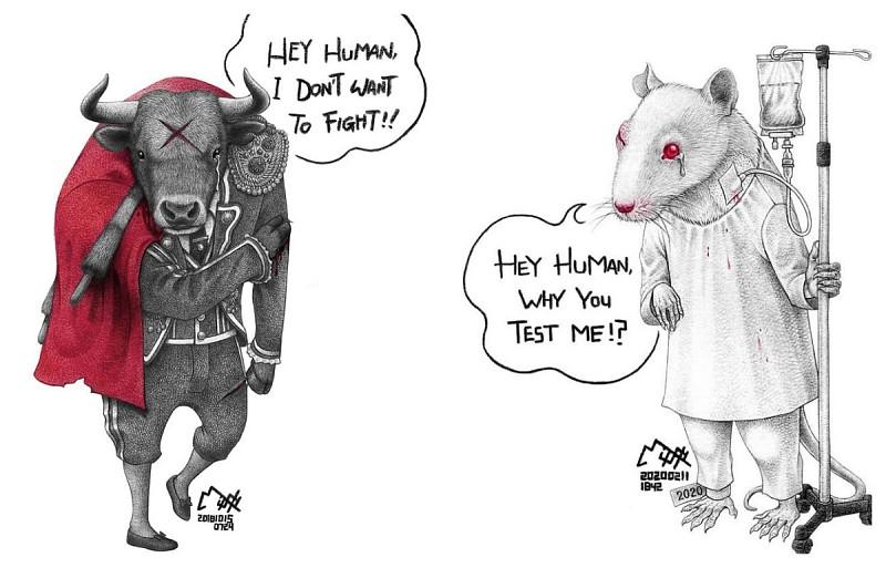 21 ilustrações desconcertantes sobre como os humanos desrespeitam a vida animal