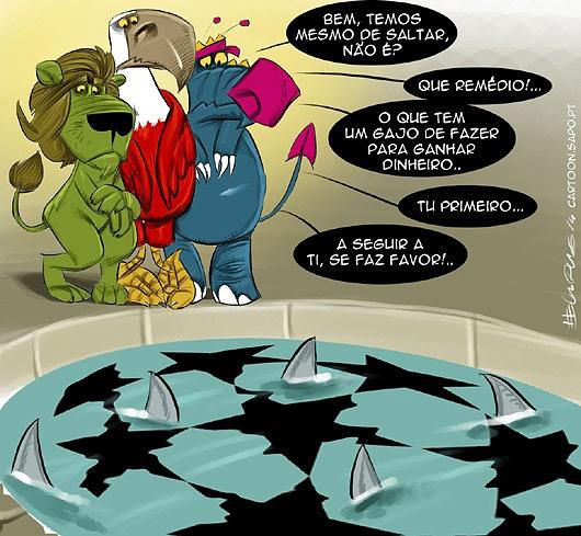 O tanque dos tubarões