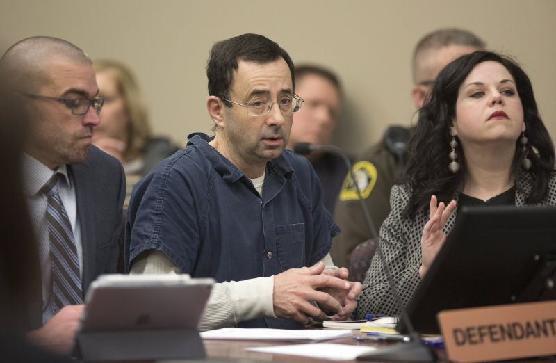 epa06471287 (FILE) - Dr. Larry Nassar appears during court proceedings in the sentencing phase in Lansing, Michigan, USA, 16 January 2018 (reissued 24 January 2018). The Michigan court on 24 January 2018 sentenced Larry Nassar, former doctor fo the US Olympic gymnastics team, for a number of sexual assault offences.  EPA/RENA LAVERTY
