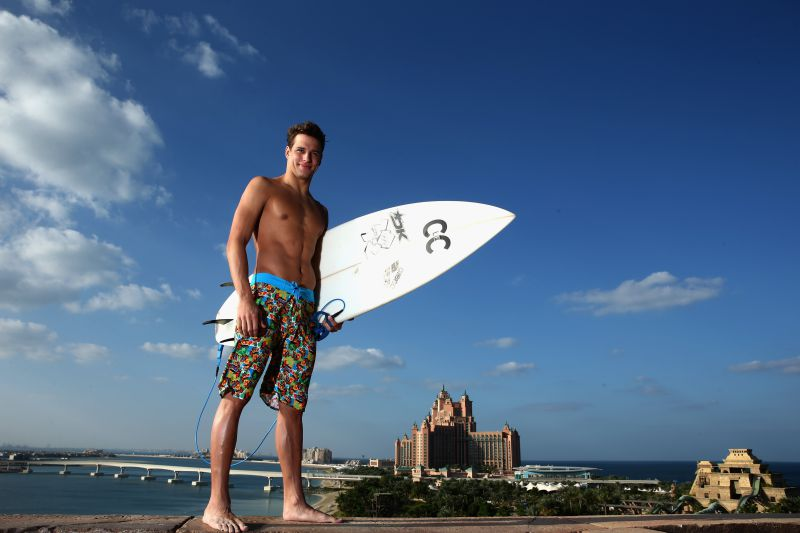 DUBAI, UNITED ARAB EMIRATES - NOVEMBER 03:  Olympic gold medallist, Chad Le Clos of South Africa poses for a picture at Atlantis, The Palm, Dubai shortly after being crowned the 2014 FINA World Series Champion in Singapore just twelve hours earlier. The Olympic Champion was in Dubai to launch his branded surf wear range, C le C, with swimwear manufacturer Arena. The range includes a collection called #Unbelievable inspired by his father Berts famous Olympic TV interview on the BBC after he beat Michael Phelps pictured on November 3, 2014 in Dubai, United Arab Emirates.  (Photo by Warren Little/Getty Images for Arena)