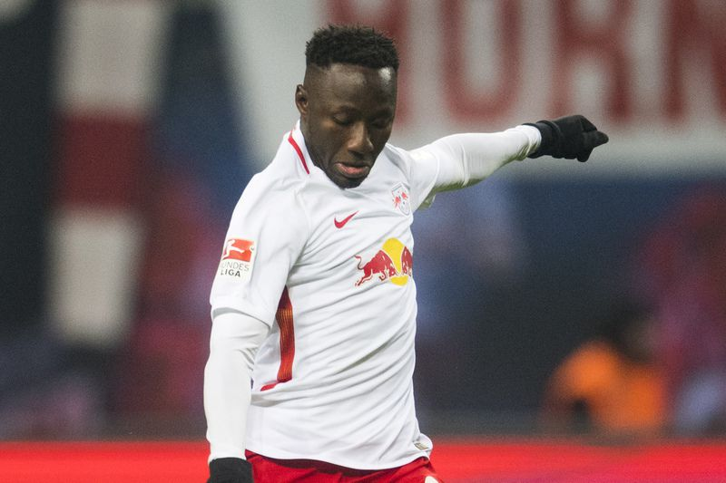 Naby Keita  • Leipzig's Guinean midfielder Naby Keita plays the ball during the German first division Bundesliga football match between RB Leipzig and Eintracht Frankfurt in Leipzig, eastern Germany on January 21, 2017. Leipzig won the match 3-0.  • AFP or licensors