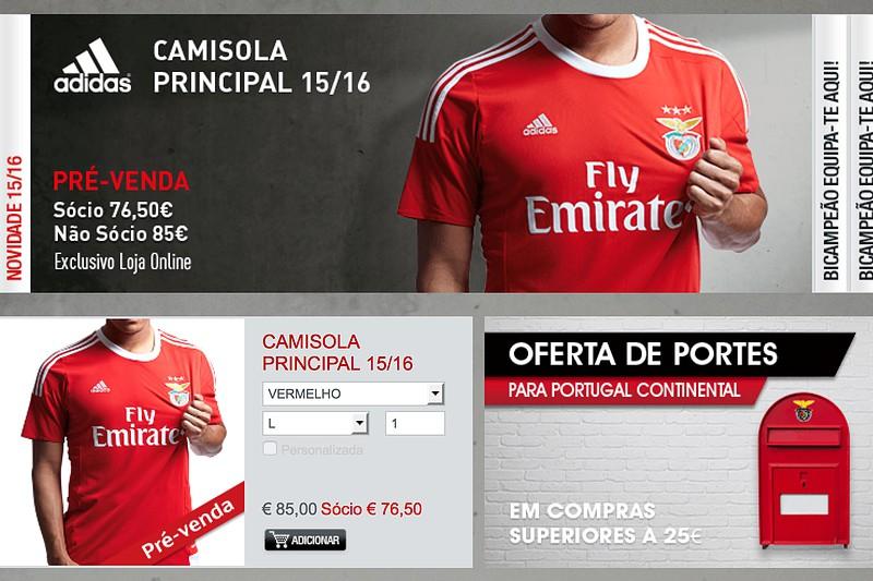 Camisola principal do Benfica em pré-venda na loja online - I Liga ... aa075531ccf49
