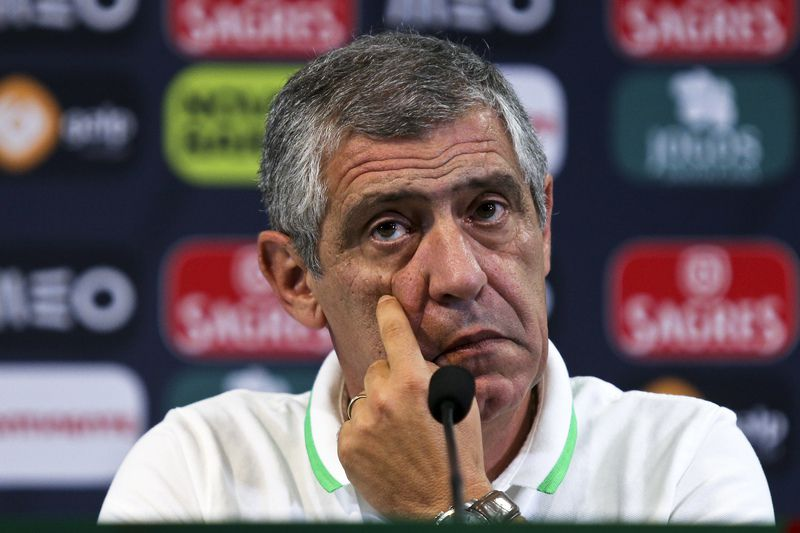 Portugal National Team press conference • Portuguese national team soccer head coach Fernando Santos reacts during the press conference at Jose Alvalade Stadium for tomorrow's friendly match against France, in Lisbon, Portugal, 03 September 2015. Portugal will face Albania the UEFA EURO 2016 group I qualifying match  on 8th of September. MIGUEL A. LOPES/LUSA • Lusa
