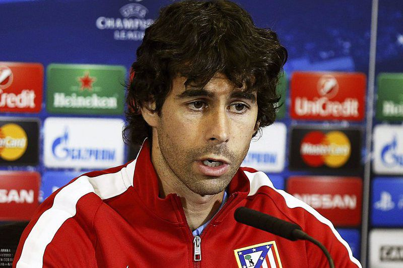 Atletico Madrid press conference • epa04503706 Atletico Madrid's Portuguese midfielder Tiago Mendes speaks during a press conference at Vicente Calderon's stadium in Madrid, Spain 25 November 2014. Atletico Madrid will face Olympiacos Piraeus in the UEFA Champions League Gruop A soccer match on 26 November 2014.  EPA/PACO CAMPOS • Lusa