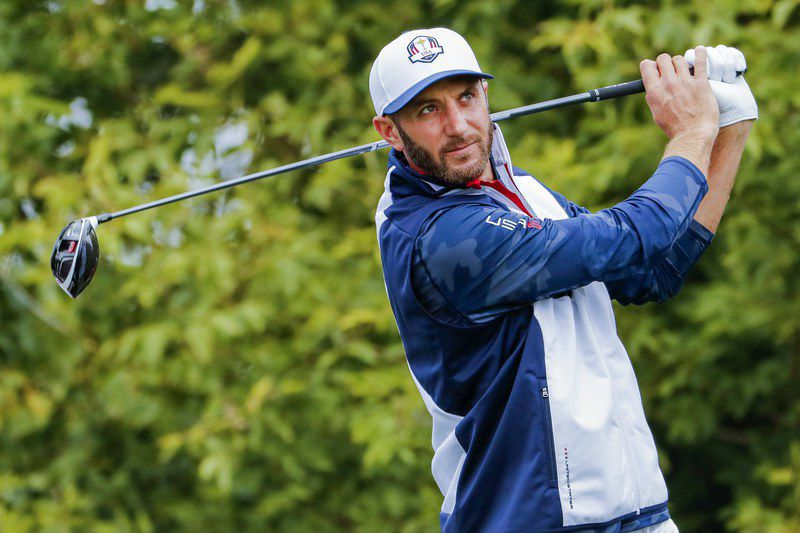 Dustin Johnson becomes world number one • epa05804893 (FILE) - A file photograph showing Team USA's Dustin Johnson hitting from the tenth tee during practice for the 2016 Ryder Cup at Hazeltine National Golf Club in Chaska, Minnesota, USA, 28 September 2016. Media reports on 20 February 2017 state that Dustin Johnson became world number one for the first time with victory on 19 February 2017 in the Genesis Open held at Riviera Country Club in Pacific Palisades, California, USA.  EPA/ERIK S. LESSER *** Local Caption *** 53040354 • Lusa