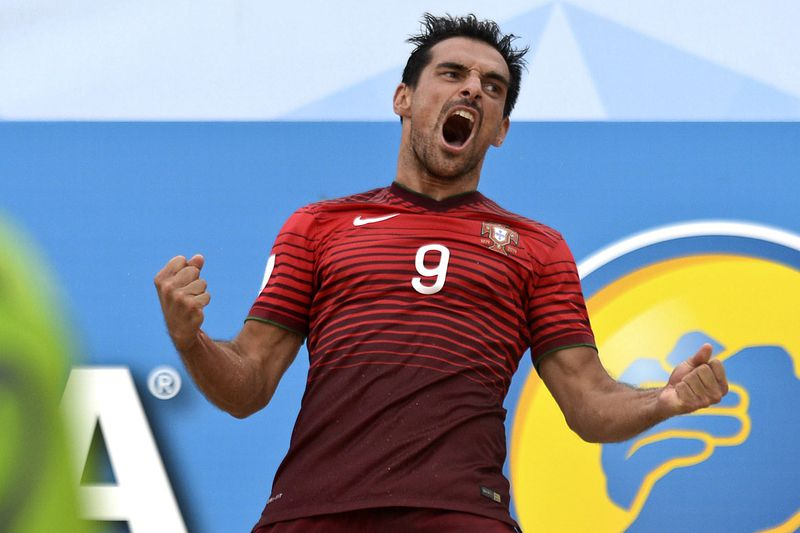 Bruno Novo  • Portugal's player Bruno Novo celebrates a goal against Russia  during the FIFA Beach Soccer World Cup Portugal 2015 semi-final between Portugal and Russia at Espinho stadium, in Espinho, North of Portugal, 18 July 2015. FERNANDO VELUDO / LUSA • Lusa