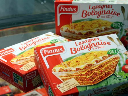 epa03575068 A picture made available on 09 February 2013 showing French Findus Lasagnes Bolognaise packets, in Mulhouse, France, 08 February 2013. The French food company Findus one of a group of companies involved in the investigation how horse meat came to be present in some of the beef products. Comigel, based in the north-eastern town of Metz, supplies tens of thousands of tonnes of frozen meals to around 15 countries. It was the manufacturer of the Findus frozen lasagnes, some of which contained up to 100 per cent horse meat. Reports state that The French subsidiary of ready meal maker Findus said 09 February 2013 it planned to take legal action after being 'deceived' over the use of horse meat in its lasagne dishes.  EPA/JEAN FRANCOIS FREY FRANCE OUT