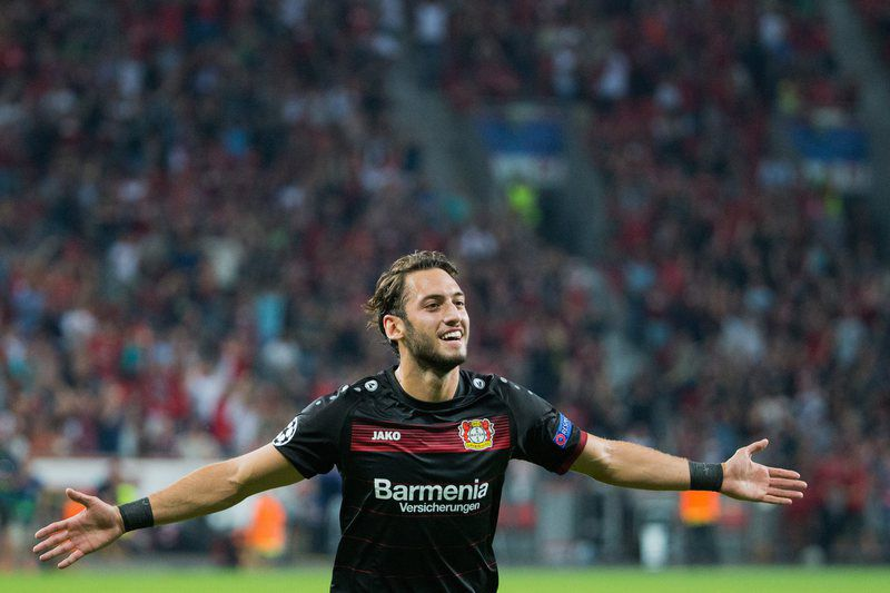 Hakan Calhanoglu • epa05539736 Leverkusen's Hakan Calhanoglu celebrates scoring the 2-0 lead during the UEFA Champions League group stage match Bayer Leverkusen vs CSKA Moscow in Leverkusen, Germany, 14 September 2016. EPA/ROLF VENNENBERND  • EPA/ROLF VENNENBERND