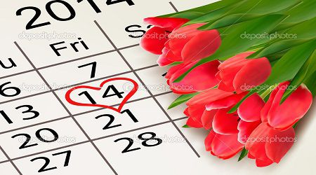 Valentine's Day Calendar. February 14 of Saint Valentines day. Vector