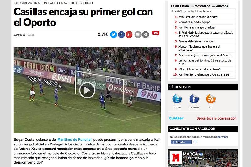 a86d7b403c Primeiro golo sofrido por Casillas em destaque na imprensa espanhola ...