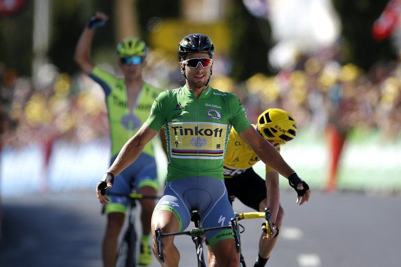 Tour de France 2016 - 11th stage • epa05423189 Tinkoff team rider Peter Sagan of Slovakia celebrates winning the 11th stage of the 103rd edition of the Tour de France cycling race over 162.5km between Carcassonne and Montpellier, France, 13 July 2016.  EPA/YOAN VALAT • Lusa