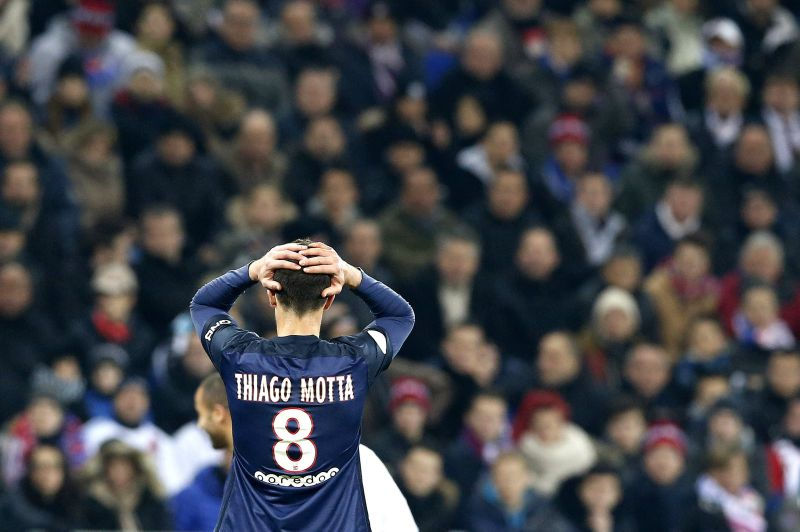 epa05185694 Thiago Motta of Paris Saint Germain reacts during the French Ligue 1 soccer match, Olympique Lyon vs Paris Saint Germain, at the Parc Olympique Lyonnais in Decines-Charpieu, near Lyon, France, 28 February 2016.
