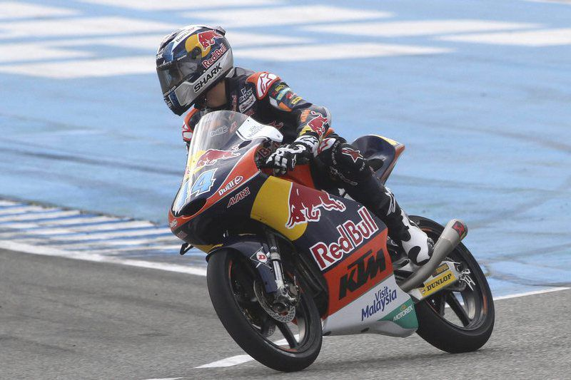 Motorcycling - final preseason tests at Jerez racetrack • epa04666423 Moto3 rider Miguel Oliveira of Red Bull KTM AJO team in action during the final preseason tests at Jerez racetrack in Jerez de la Frontera, Cadiz province, Andalusia, southern Spain, 17 March 2015.  EPA/ROMAN RIOS • Lusa