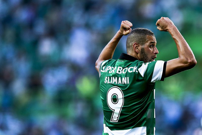Sporting CP vs Wolfsburg • Sporting CP's Islam Slimani celebrates after scoring a goal against Wolfsburg during the 'Five Violins' trophy match Sporting CP vs Wolfsburg at Alvalade Stadium Lisbon Portugal 30 July 2015.  JOSE SENA GOULAO/LUSA • Lusa