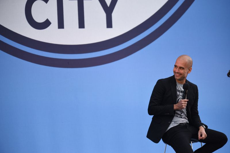 Guardiola  • Guardiola foi apresentado como novo treinador do City • AFP or licensors