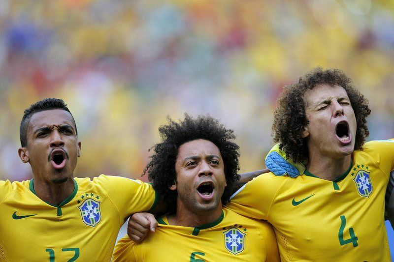 Group A - Brazil vs Mexico • Luiz Gustavo, Marcelo e David Luiz • epa04263529; Kai Fosterling