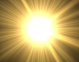 Beaming bright yellow sun with rays