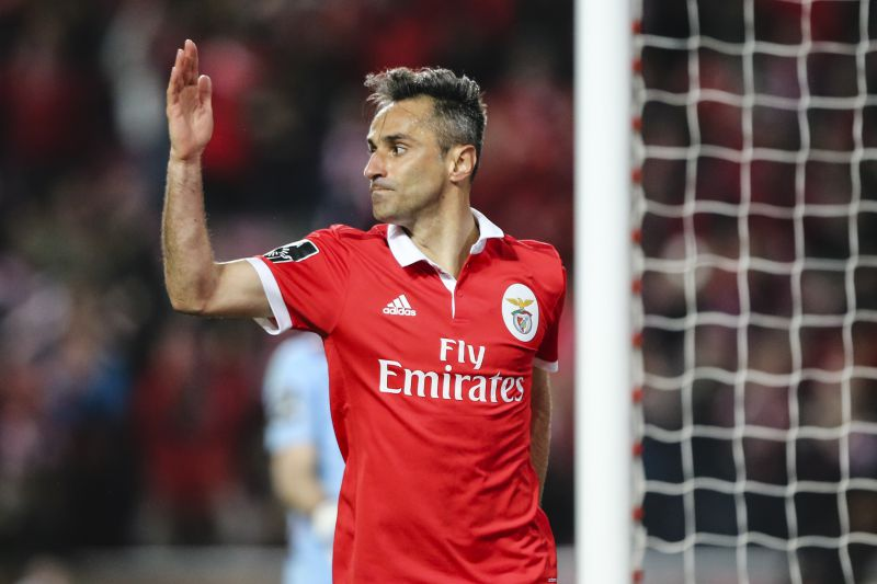 Benfica's Jonas celebrates after scoring a goal to Desportivo das Aves during the Portuguese First League Soccer match at Luz Stadium in Lisbon, Portugal, 10 of March 2018. MIGUEL A. LOPES/LUSA