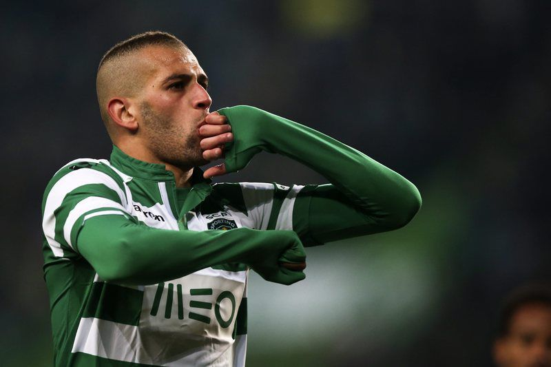 Sporting vs Estoril-Praia • epa04545800 Sporting's player Islam Slimani celebrates after scoring a goal against Estoril-Praia during their Portuguese First League soccer match held at Alvalade stadium in Lisbon, Portugal, 03 January 2015.  EPA/MIGUEL A. LOPES