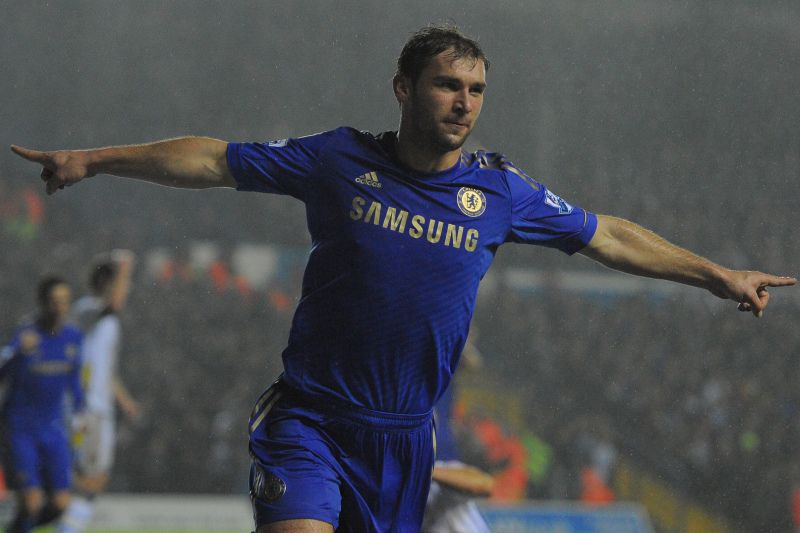 Chelsea's Serbian defender Branislav Ivanovic  celebrates after scoring the second goal during the League Cup Quarter Final football match between Leeds United and Chelsea at Elland road stadium in Leeds, northern England on December 19, 2012. AFP PHOTO/ANDREW YATES.  RESTRICTED TO EDITORIAL USE. No use with unauthorized audio, video, data, fixture lists, club/league logos or ?live? services. Online in-match use limited to 45 images, no video emulation. No use in betting, games or single club/le • DR