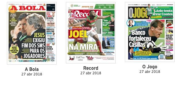 Revista de imprensa  A  exigência  de Jorge Jesus a Bruno de Carvalho entre 63405480200ad