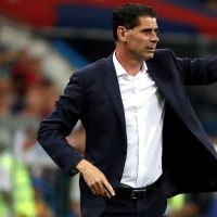 epa06811072 Spanish coach Fernando Hierro reacts during the FIFA World Cup 2018 Group B soccer match between Portugal and Spain, in Sochi, Russia, 15 June 2018.    (RESTRICTIONS APPLY: Editorial Use Only, not used in association with any commercial entity - Images must not be used in any form of alert service or push service of any kind including via mobile alert services, downloads to mobile devices or MMS messaging - Images must appear as still images and must not emulate match action video footage - No alteration is made to, and no text or image is superimposed over, any published image which: (a) intentionally obscures or removes a sponsor identification image; or (b) adds or overlays the commercial identification of any third party which is not officially associated with the FIFA World Cup)  EPA/Javier Etxezarreta   EDITORIAL USE ONLY