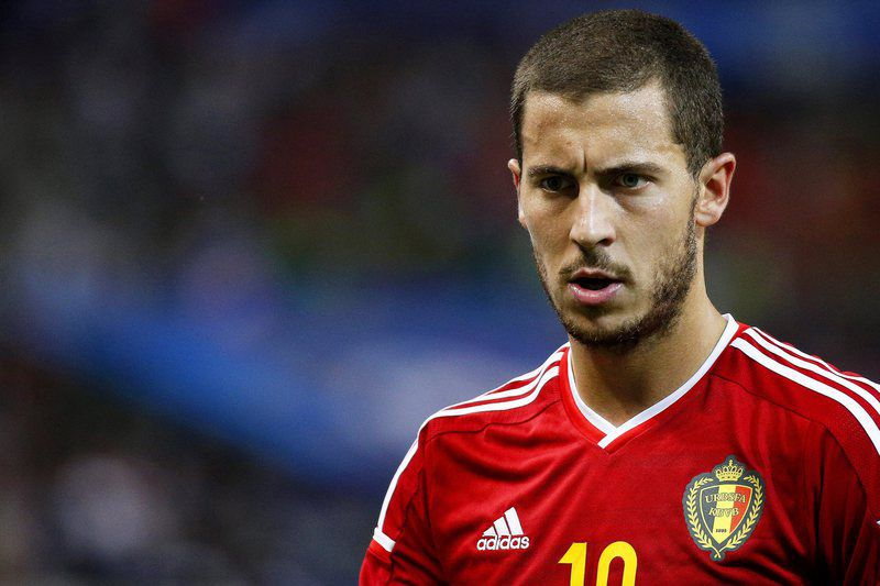 France vs Belgium • epa04788604 Belgium's Eden Hazard reacts during the international friendly soccer match between France and Belgium at the Stade de France in Saint-Denis, near Paris, France, 07 June 2015.  EPA/YOAN VALAT • Lusa