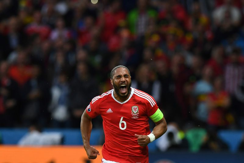 Ashley Williams • Ashley Williams, capitão da seleção de Gales • AFP or licensors