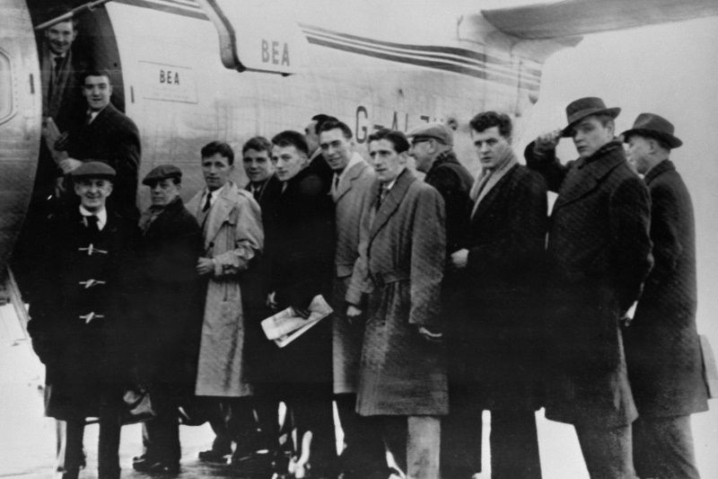 Few players and staff members of the Manchester United football team, and sport journalists prepare to board, in February 1958 in Manchester, the BEA Elizabethan plane, which will crash in a blizzard on Munich airport 06 February 1958. The aircraft stopped at the snowbound German airport to refuel and crashed on its third attempt to take off, as the Manchester