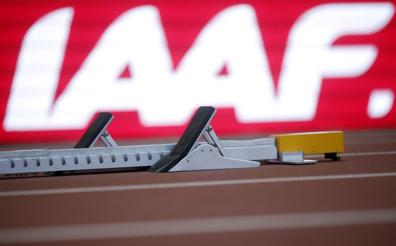 epa05101719 (FILE) A file picture dated 21 August 2015 of a starting block in front of the logo of the International Association of Athletics Federations (IAAF) prior to the 2015 IAAF World Championships at the National Stadium in Beijing, China. Former IAAF president Lamine Diack was responsible for the corruption at the ruling athletics body and his successor Sebastian Coe must also have been aware of the schemes and doping practices in Russia, according to an anticipated report presented by an independent commission of the World Anti-Doping Agency (WADA) on 14 January 2016.  EPA/DIEGO AZUBEL *** Local Caption *** 52380123