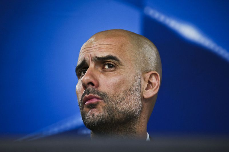 Bayern Munich press conference • Bayern Munich's head coach Pep Guardiola attends a press conference at Luz stadium, in Lisbon, Portugal, 12 April 2016. Bayern Munich will play against Benfica in an UEFA Champions League quarterfinal second leg match on 13 April 2016. MARIO CRUZ/LUSA • Lusa