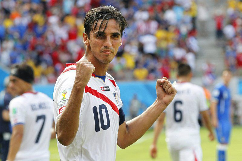 Bryan Ruiz • epa04269230 Bryan Ruiz of Costa Rica celebrates after scoring the 1-0 lead during the FIFA World Cup 2014 group D preliminary round match between Italy and Costa Rica at the Arena Pernambuco in Recife, Brazil, 20 June 2014.   (RESTRICTIONS APPLY: Editorial Use Only, not used in association with any commercial entity - Images must not be used in any form of alert service or push service of any kind including via mobile alert services, downloads to mobile devices or MMS messaging - Images must appear as still images and must not emulate match action video footage - No alteration is made to, and no text or image is superimposed over, any published image which: (a) intentionally obscures or removes a sponsor identification image; or (b) adds or overlays the commercial identification of any third party which is not officially associated with the FIFA World Cup)  EPA/CHEMA MOYA   EDITORIAL USE ONLY • DR
