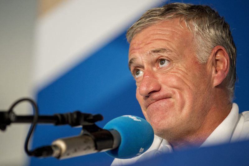 France press conference • epa05339021 French national soccer team head coach Didier Deschamps reacts during a press conference in Neustift, Austria, 31 May 2016. The French national soccer team prepares for the UEFA EURO 2016 soccer championship in France.  EPA/JAN HETFLEISCH • Lusa