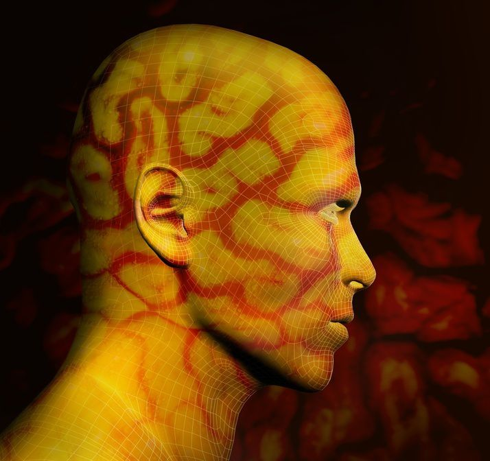 3d rendered human shape with yellow and red texture