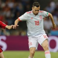 epa06811057 Bernardo Silva (L) of Portugal and Jordi Alba of Spain in action during the FIFA World Cup 2018 group B preliminary round soccer match between Portugal and Spain in Sochi, Russia, 15 June 2018.  (RESTRICTIONS APPLY: Editorial Use Only, not used in association with any commercial entity - Images must not be used in any form of alert service or push service of any kind including via mobile alert services, downloads to mobile devices or MMS messaging - Images must appear as still images and must not emulate match action video footage - No alteration is made to, and no text or image is superimposed over, any published image which: (a) intentionally obscures or removes a sponsor identification image; or (b) adds or overlays the commercial identification of any third party which is not officially associated with the FIFA World Cup)  EPA/RONALD WITTEK   EDITORIAL USE ONLY