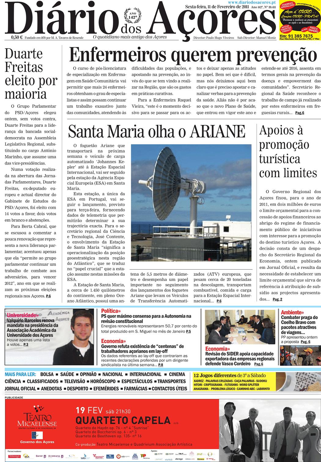 Diário dos Açores (11 fev 2011) - Jornais e Revistas - SAPO 24