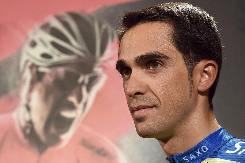 2015 Giro d'Italia • epa04739079 Spanish rider Alberto Contador of Tinkoff-Saxo during a press conference in San Lorenzo al Mare, Italy, 08 May 2015. The 2015 Giro d'Italia cycling race takes place from 09 May through 01 June 2015.  EPA/DANIEL DAL ZENNARO • Lusa