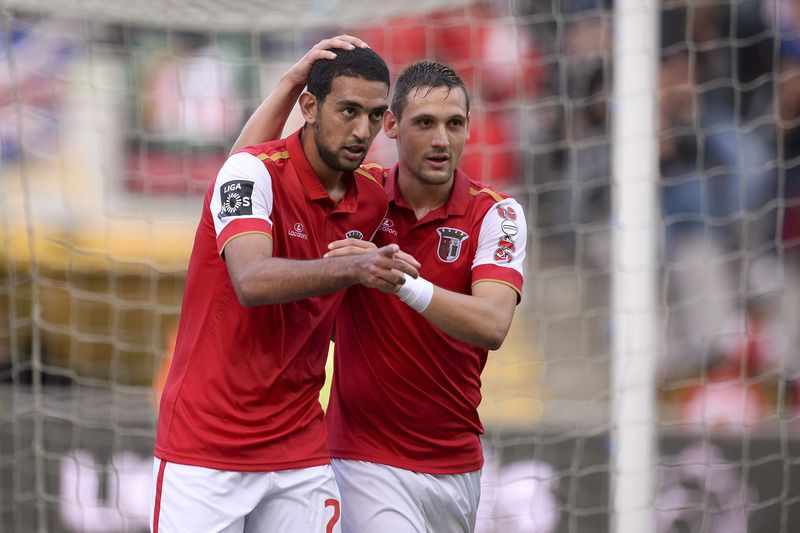SC Braga vs Belenenses • SC Braga's player Hassan (L) celebrate with his teammate Stojiljkovic (R) after score the first goal against Belenenses during the Portuguese first league soccer match held at Braga´s Municipal Stadium, in Braga, 365 km from Lisbon, Northern of Portugal, 31 October 2015. HUGO DELGADO/LUSA • Lusa