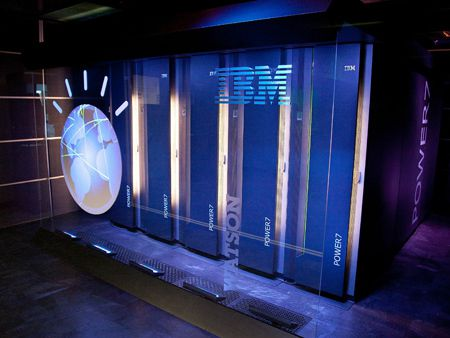 YORKTOWN HEIGHTS, NY - JANUARY 13: A general view of IBM's 'Watson' computing system at a press conference to discuss the upcoming Man V. Machine