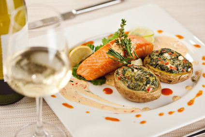 Baked Jacket Potato and Salmon Steak. Served with White Wine