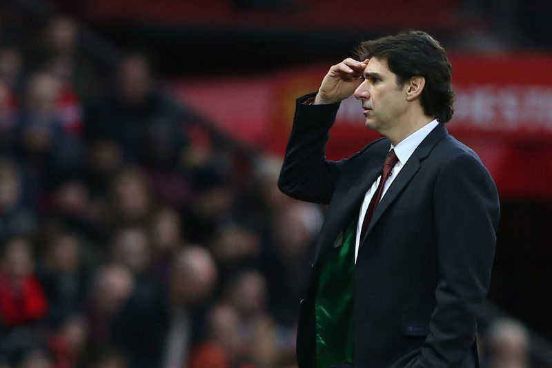 Manchester United vs Middlesbrough • epa05693061 Middlesbrough's manager Aitor Karanka reacts during the English premier league soccer match between Manchester united and Middlesbrough at Old Trafford Stadium in Manchester, Britain, 31 December 2016.  EPA/NIGEL RODDIS EDITORIAL USE ONLY. No use with unauthorised audio, video, data, fixture lists, club/league logos 'live' services. Online in-match use limited to 75 images, no video emulation. No use in betting, games or single club/league/player publications. • NIGEL RODDIS/EPA
