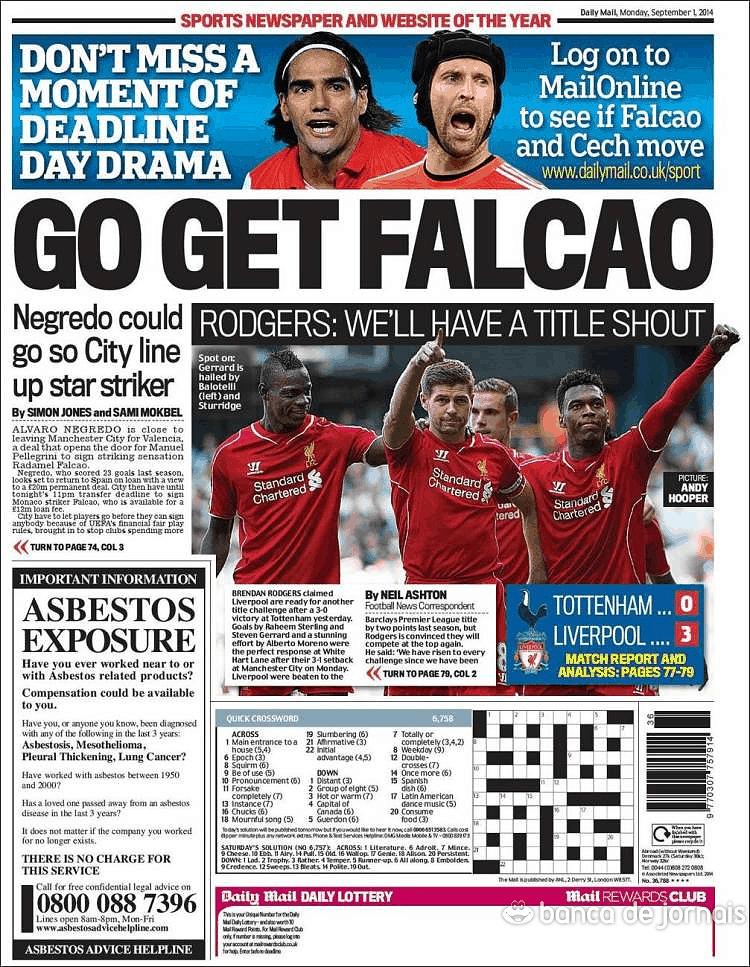 Daily Mail Sport 1 Set 2014 Jornais E Revistas Sapo 24