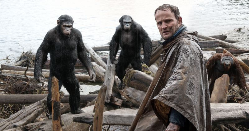 EMBARGOED FROM ONLINE FOR 3:01 AM EDT   Malcolm (Jason Clarke) is followed by Caesar (Andy Serkis), Koba (Toby Kebbell) and Maurice (Karin Konoval) as he tries to make peace with them in a scene from the motion picture