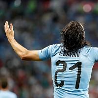Edinson Cavani celebra o segundo golo marcado @EPA/JUAN HERRERO