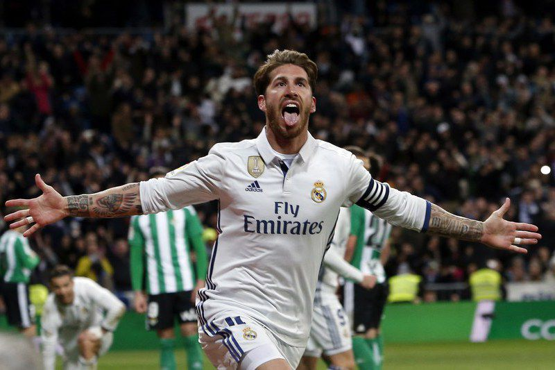 REAL MADRID VS REAL BETIS • epa05845041 Real Madrid's defender Sergio Ramos celebrates after scoring the 2-1 goal during the Spanish Primera Division soccer match between Real Madrid and Real Betis at Santiago Bernabeu stadium in Madrid, Spain, 12 March 2017.  EPA/J.J. GUILLEN • J.J. GUILLEN/EPA