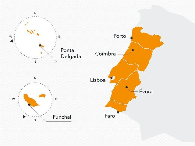 mapa de portugal com ilhas Os