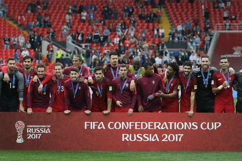 Portugal vs Mexico • Portugal's celebrate during the podium ceremony after winning the FIFA Confederations Cup play-off for third place against Mexico at Spartak Stadium, in Moscow, Russia, 2 July 2017. MARIO CRUZ/LUSA • Lusa
