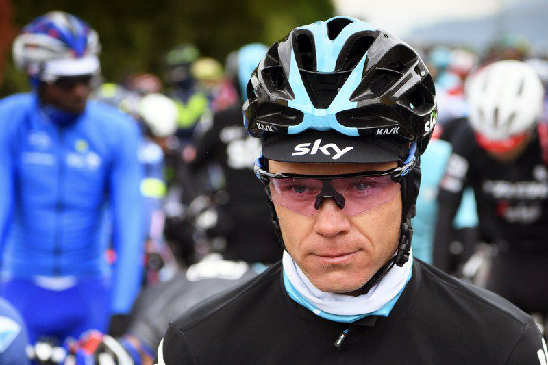 Chris Froome training incident • epa05952067 (FILE) British rider Chris Froome of Team Sky before the second stage of the 71st Tour de Romandie UCI ProTour cycling race in Aigle, Switzerland, 27 April 2017 (reissued 09 May 2017). Three-time Tour de France winner Chris Froome said on 09 May 2017 that he was knocked off his bike by a car driver during a training ride in southern France, but remained unhurt. EPA/JEAN-CHRISTOPHE BOTT  • EPA/JEAN-CHRISTOPHE BOTT