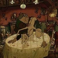 """Clássico absoluto de Sylvain Chomet e uma das mais famosas obras do cinema de animação com temas adultos. Lançado em 2003, conta a história de um menino raptado durante a Tour de France para ser escravizado. A avó, madame Souza, personagem lusitana que aparece a cantar """"uma casa portuguesa com certeza"""", sai à procura do neto na companhia de um cão e vai parar a cidade de Belleville."""