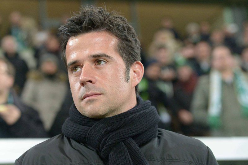 VfL Wolfsburg vs Sporting Lissabon • epa04627636 Lisbon manager Marco Silva in the arena before the Europa League game VfL Wolfsburg vs Sporting Lisbon in Wolfsburg, Germany, 19 February 2015.  EPA/Peter Steffen • Lusa